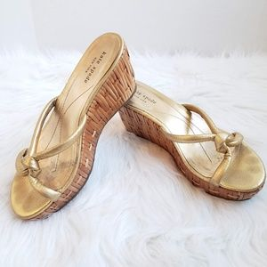 Kate Spade Gold Leather Straw Wedges